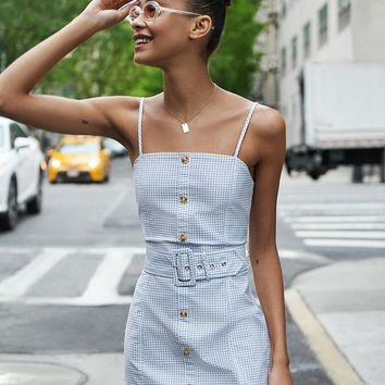 UO Belted Gingham Button-Down Mini Dress | Urban Outfitters