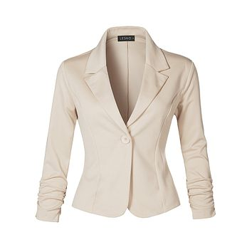 Slim Fit Ruched Long Sleeve Single Button Down Work Office Blazer Jacket (CLEARANCE)
