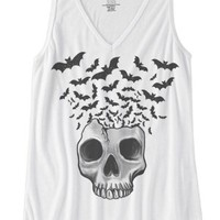 Women's Skull w/ Bats Flying Urban V-Neck Tank Top - White