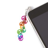 Rainbow Metallic Peace Signs Cell Phone Plug   Claire's