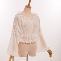 Fairy Girls Sweet Chiffon Crop Top Lolita White Ruffles Long Sleeve Bottoming Shirt