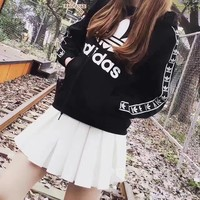 """Adidas"" Women Casual Clover Letter Print Webbing Pullover Long Sleeve Hooded Sweater Sweatshirt Tops"