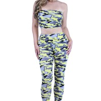 Yellow And Grey Camo Bandeau Crop Top and High Waist Leggings Set