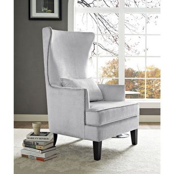 Bristol Silver Croc Tall Chair | Overstock.com Shopping - The Best Deals on Living Room Chairs