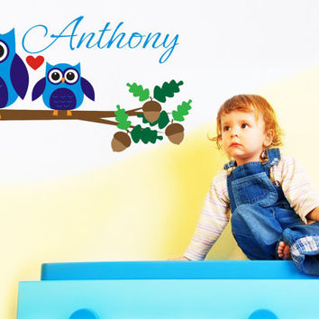 Owl Art Wall Decals Wall Stickers Vinyl Decal Quote - Custom Owl Wall Nursery Name Initial Monogram Wall Decal