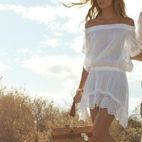 Off Shoulder Embroidered Cutout Dress in White