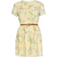 Yellow floral print belted skater dress - day dresses - dresses - women