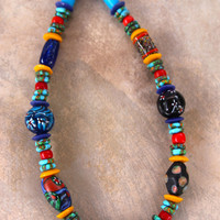 Colorful African Necklace Tribal Rainbow of Venetian, African, and Javanese Glass Beads Boho Ethnic Jewelry