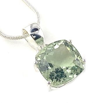 Prasiolite Sterling Silver Cushion Cut Pendant