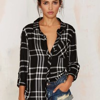 Plaid Attitude Button-Up Shirt - Black