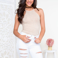 Heavenly Ribbed Bodysuit - Taupe