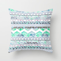Teal Girly Floral White Abstract Aztec Pattern Throw Pillow by Girly Trend