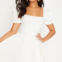 White Bonded Scuba Puff Sleeve Skater Dress
