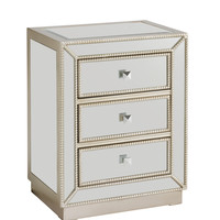 Silver Beaded Three Drawer Chest