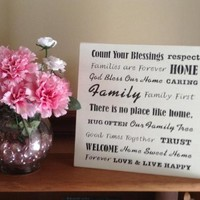 Rustic Shabby Chic Wood Decor Sign, Count Your Blessings, Families Are Forever, Home Sweet Home, No Place Like Home, God Bless Our Home