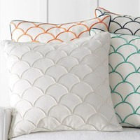 Scallop Embroidered Pillow Cover