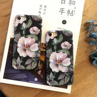 Shockproof Vintage Floral Printed Forsted Hard Phone Case for iPhone 7 6 6s Plus