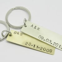 Personalized date tag keychain. Valentines day.Fathers day gift.Coordinates keyrchain.Initial.Brass, copper, nickel silver Mens Gift. Unisex