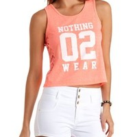 Neon Coral Nothing 02 Wear Graphic Tank Top by Charlotte Russe