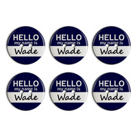 Wade Hello My Name Is Plastic Resin Button Set of 6