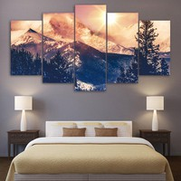 Mountain Canvas Painting Winter Canvas Landscape Wall Art Print Picture