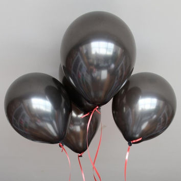 """100pcs 10"""" Black Latex Party Balloons Pearl Helium Wedding Birthday Celebration Party Balloons (Size: M, Color: Black) = 1946090884"""