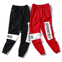 GIVENCHY Classic Popular Men Women Embroidery Pants Trousers Sweatpants
