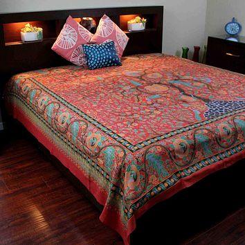Cotton Tree of Life Tapestry Bedspread Bed sheet Full 88x104 inches Red