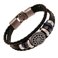 ER 2016 New Cool Male Leather Braclet Men Female Mandala Braacelets Summer Bracelet Pulceras Mujer Pulseira Feminina LB130