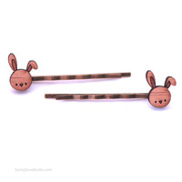 Bunny Hair Pins Cute Bamboo Hair Clips Grips Bobby Pin Laser Cut Wood Wooden Animal Accessories Gifts Gift Ideas For Friends Girls Teens Her