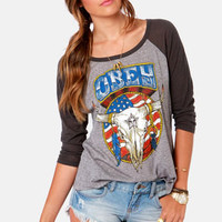 Obey Freedom Skull Distressed Grey Print Top