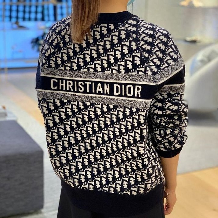 Image of Christian Dior new product D classic letter presbyopia knitted sweater loose mens and womens sweater-1