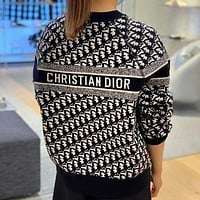 Christian Dior new product D classic letter presbyopia knitted sweater loose mens and womens sweater-1