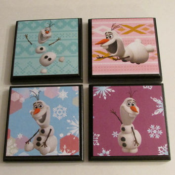 Disney Frozen Olaf Room Wall Plaques - Set of 4 Frozen Olaf Girls Room Decor - Frozen Olaf Snowman Wall Signs