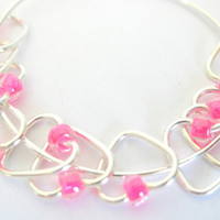 Small Stitch markers | Heart-shaped | Knitting stitchmarker | Beaded stitchmarker | Knitting supplies | silver w clear pink beads |  #0619