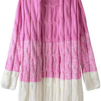 Pink White Long Sleeve Knit Cardigan