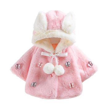 Baby girls clothing faux fur jackets Coats Infant Butterfly Autumn Winter Hooded Coat Cloak Jacket Thick Warm Clothes