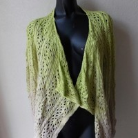 Ombre Knit Lime Green and Creme Color Sweater Cardigan