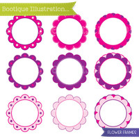 Pink Flowers Clipart Set. Pink and Purple Digital Flowers Vector Clip Art for Personal and Commercial* Use. Png, Jpeg and Eps included.