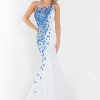 Sheer And Beaded Back Mermaid Prom Dress By Rachel Allan 6868