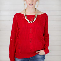 Open Cable Knit Sweater Top