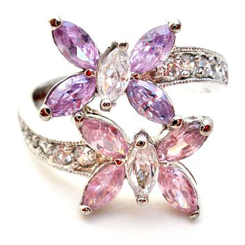 Lavender & Pink Ice Butterfly Ring Size 7.5