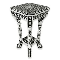 Floral Bone Inlay Black & White 12 Inch Accent Table / End Table For Living Room