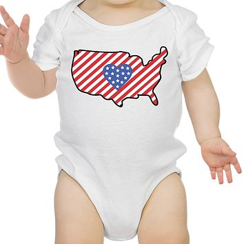 USA Map Cute 4th Of July Decorative Cute Baby Onesuit New Mom Gifts