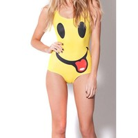 Yellow Face Print One Piece Swimsuit | Sexy Women's Rave Clothing