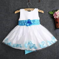 2015 Flower Girl Dress Rose Petals Formal Wedding Bridesmaid Party Gown Sz 2-7Y