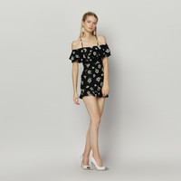 Black Casual Flounce Off Shoulder Floral Design Mini Dress