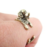 3D Golden Retriever Shaped Animal Wrap Ring in Brass | Sizes 4 to 9