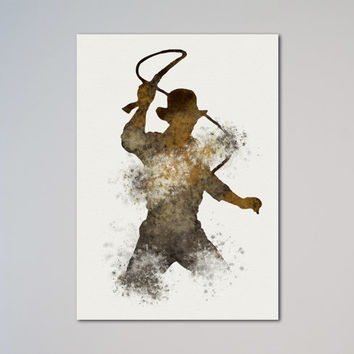 Indiana Jones Poster Watercolor Print Wall Decor Fine Art Giclee Print Poster Home Decor Wall Hanging Dr. Henry Jones whip lash express fast
