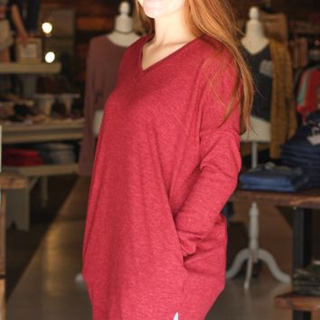 {Burgundy} Brushed Melange V-neck Tunic Sweater - Size XL